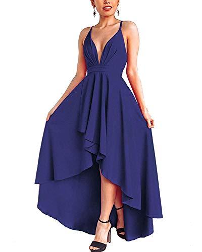 Abravo Donna Vestiti Elegante Senza Schienale Abito Lungo Asimmetrico Scollo a V Vestito Estivo...