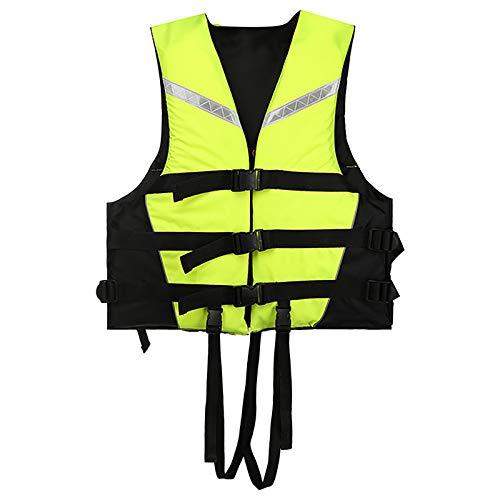 MoYoTo Nadar Chaleco Salvavidas Chaleco Salvavidas De Alta Flotabilidad para Evitar Colisiones con Silbato Y Tira Reflectante para Nadar, Pescar Y Surfear,Verde,XL