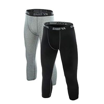 Siboya Men's Compression 3/4 Capri Shorts 2...