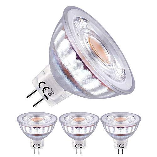 EACLL Bombillas LED GU5.3 2700K Blanco Cálido MR16 12V 5W 460 Lúmenes Equivalente 50W Halógena. Sin Estroboscópica, 36 ° Luz Blanca Cálida Spotlight LED, Pack de 3