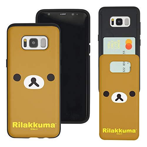 Compatible with Galaxy S8 Case (5.8inch) Rilakkuma Slim Slider Card Slot Dual Layer Holder Bumper Cover - Face Rilakkuma
