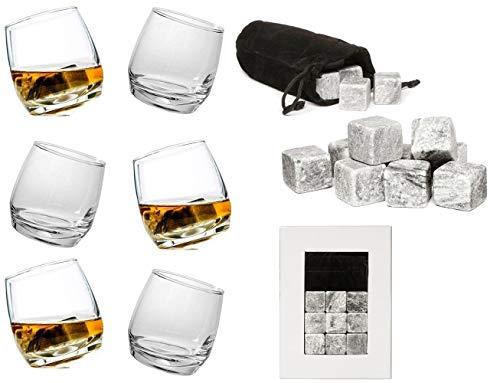 Sagaform Whiskygläser mit 9 Whisky-Steinen, 6 Stück