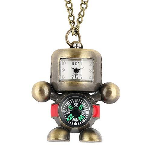 Reloj de Bolsillo con Forma de Robot Delicado, aleación de Bronce, brújula práctica, Reloj Colgante, Collar, Juguetes de Hora, Regalo para Hombres, Mujeres, niños