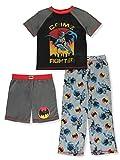 Komar Kids Boy's Batman Three-Piece Pajama Set (Little Kids/Big Kids) Gray XS (4-5 Little Kids)