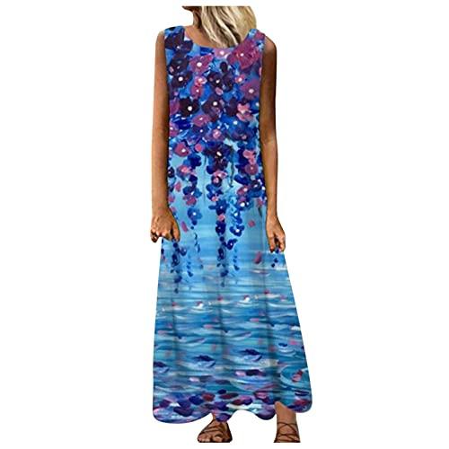 lecduo - Vestido largo sin mangas para mujer, diseño retro azul A XL