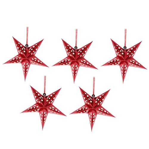 Minkissy 5Pcs Red Paper Star Lantern Decoración de La Pantalla 3D Paper Star Pentagram Pantalla de Lámpara Pantalla de Origami para El Banquete de Boda de Navidad Decoraciones Colgantes