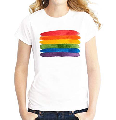 Bandera LGBTQ Arcoiris T-Shirt Camiseta De Mujer Blanca XL