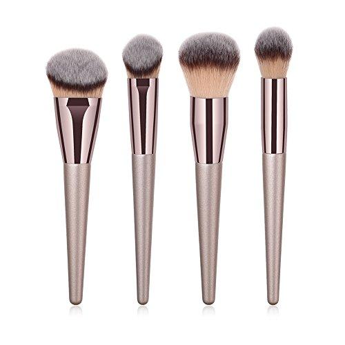 Gespout Set de Pinceaux de Maquillage Brosse de Maquillage Professionnel Fondation Concealer Eye Shadow Beauté Outils Champagne D'or (4pcs)
