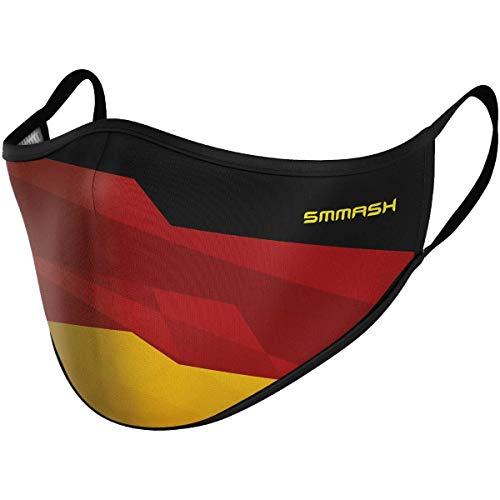 SMMASH Mundschutz Maske Wiederverwendbar, Hochwertiges Gesichtsmaske Waschbar, Multifunktional Trainingsmaske für Radfahren, Laufen, Staubschutzmaske für Damen, Herren (S/M, PATRIOTGERMANY)