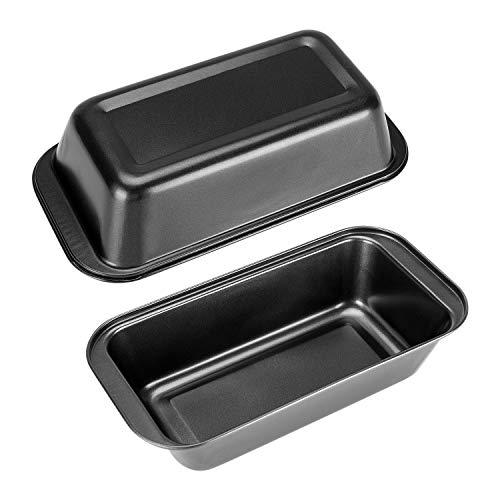 Loaf Pan 2 Pack,HOMARTY Bread Loaf Cake Baking Pan 8.5 x 4.5 Inch Black Carbon Steel Non Stick Loaf Baking Mold Bakeware for Meal Prep