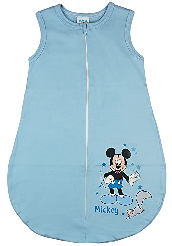 Disney Baby ärmelloser Sommer-Schlafsack in Größe 56 62 68 74 80 86 92 98 104 110 DÜNN Nicht gefüttert 100% Baumwolle, für Jungen mit Mickey Mouse Farbe Modell 1, Größe 80/86
