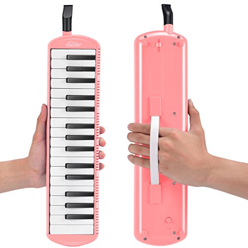 Eastar鍵盤ハーモニカホース+唄口セット軽量ABS樹脂防錆2xショートマウスピース2x延長ホース1×キャリーバッグ(ピンク32鍵)