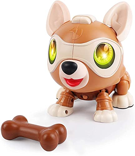 DeeXop DIY STEM Roboter Hund Spielzeug Tier,Bellen, Musik,Licht und Mehreren Sensorfunktionen, Pädagogische und Interaktives Spielzeug für Spielzeug Kinder 4 5 6 7 8 Jahre