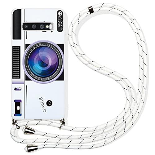 Pnakqil Capa compatível com Samsung Galaxy A7 2018 de 15,2 cm, cordão ajustável transversal com design moderno de TPU branco macio à prova de choque capa protetora para Samsung A7 2018, câmera