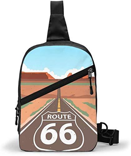 Route 66 Graphics Sling Bag,Crossbody Shoulder Chest Outdoor Hiking Travel Personal Pocket Bag for Women Men Water Resistance