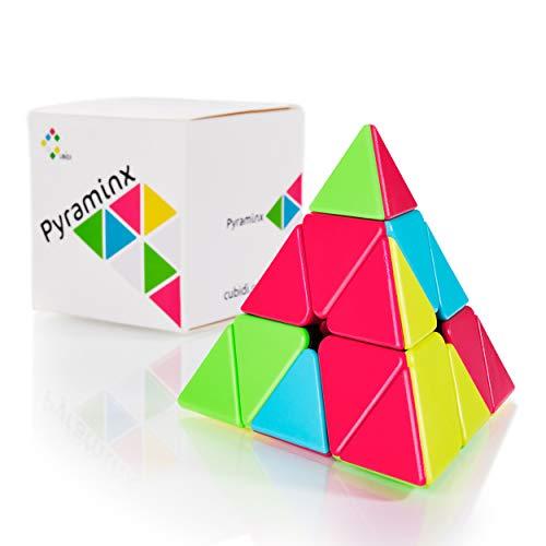 CUBIDI® Pyraminx Cubo Mágico 3x3 - Tipo Sydney - Sin Pegatinas – Fidget Toy Pirámide Triángulo Cubo con Colores Vivos - Puzzle 3D - Juguetes Sensoriales para Anti Estrés - para Niños y Adultos