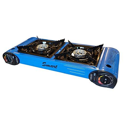 Caravan Supermarket Camping Portable Double Gas Burner Stove Blue Model CSS-GS01