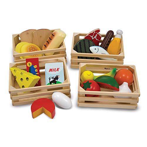 Melissa & Doug- Food Groups – Comida, Original (Juego de Pretend, 21 Piezas de Madera pintadas a Mano y 4 Cajas, Gran Regalo Juguete niños de 3, 4, 5 y 6 años), Color surtido (96041)