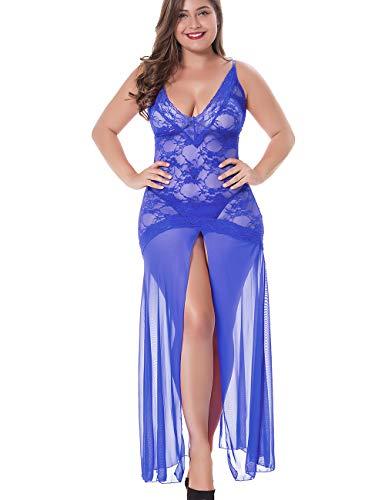 LINGERLOVE Sexy Dessous Lang Negligee Große Größen Spitze Kleid für Damen Transparent Nachtwäsche Langes Dessouskleid mit G-String Blau