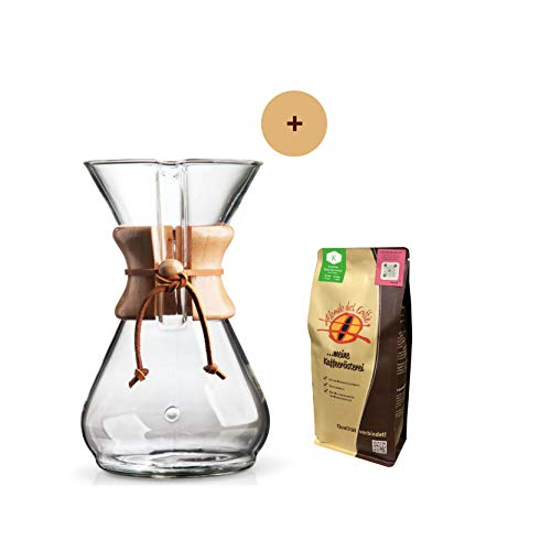 Chemex Karaffe für 8 Tassen (1200 ml) Aktionspaket mit 250 gr. Filterkaffee von der Kaffeerösterei Mondo del Caffè