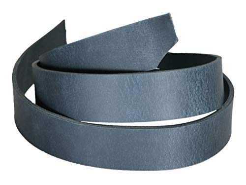 """Buffalo Leather Strap, Leather Belt Blank Strip, 1-1/4"""" Wide Heavy Weight Thick 8oz - 10oz, 55"""" to 60"""" in Length, Navy Blue Leather Strip for Belts"""