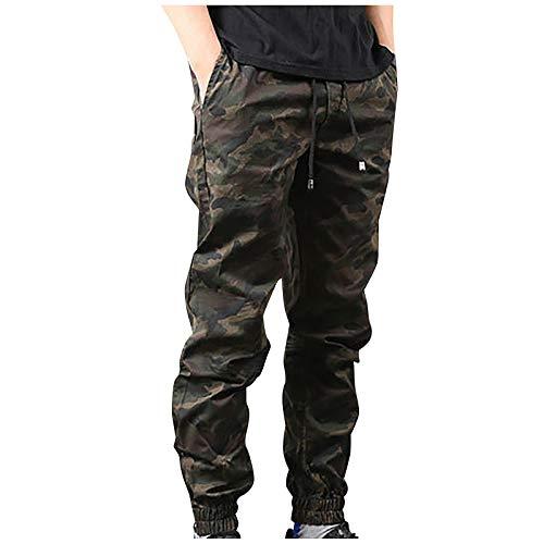 BIBOKAOKE Pantaloni cargo lunghi da uomo, vestibilità regolare, mimetici, casual, per il tempo libero, con tasche con coulisse, Verde militare., M