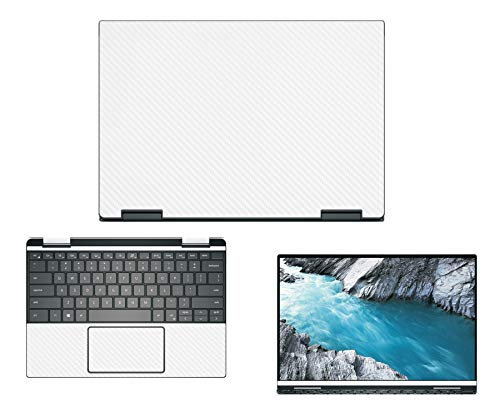 """Decalrus - Protective Decal for Dell XPS 13 7390 2-in-1 (13.3"""" Screen) Laptop White Carbon Fiber Skin case Cover wrap CFdellXPS-7390-2-in-1White"""