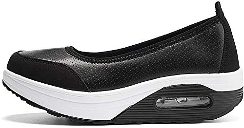 Zapatos de Mocasines Mujer Casuales Plataforma Zapatillas Antideslizante Calzado de Planos Cuero Modo