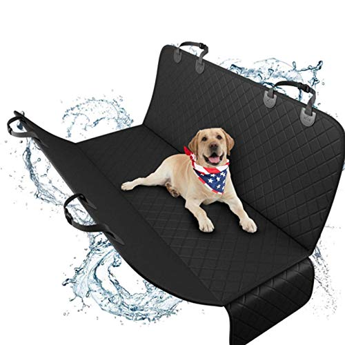 LXYDD Car Protective Cover for Dogs Back Seat Non-Slip Dog Blanket Car Rear Seat Waterproof Rear Seat Covers for Dogs,Scratch Proof Nonslip, for Cars,Trucks, SUV(147x137cm),Black side
