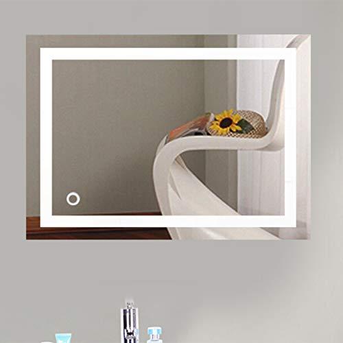 meihe Miroir Mural,Miroir de Salle de Bain Rectangulaire LED,Miroir de Salle de Bain LED,avec éclairage LED,Miroir Cosmétiques avec Commande par Effleurement/Anti-buée-50 * 70cm