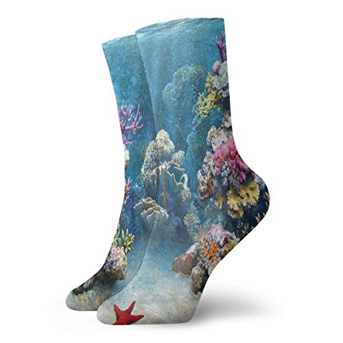 Verctor Hommes Femmes Crew Sock Coral Reefs Music Athletic Socks SpecialBas de démarrage Court 30CM