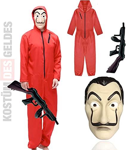 Ensemble de costumes TK Gruppe Timo Klingler - House of Money pour adultes unisexe avec masque Dali Salvador, fusil gonflable, combinaison rouge pour carnaval et Halloween