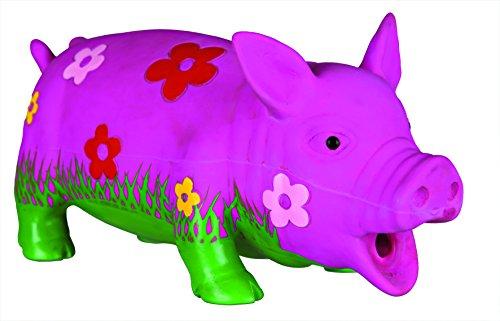 TRIXIE Schwein mit Blumen & Tierstimme Latex 20 cm
