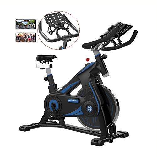 WGFGXQ Bicicleta estática de Ciclismo para Interiores con Entrenamiento y Entrenamiento por Video, Bicicleta giratoria para Gimnasio en casa, Resistencia magnética, Asiento Ajustable, Volante de AC