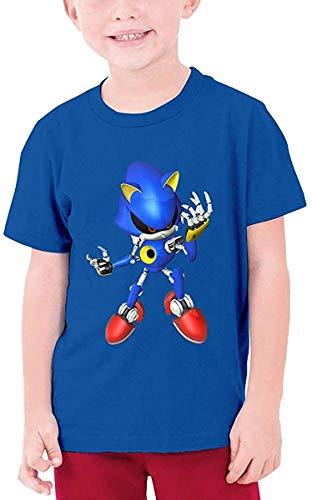 Kapuzenpullover Jungen Mädchen Metal Sonic Cotton Round Neck Short Sleeve T-Shirt for Boys Girls Kids