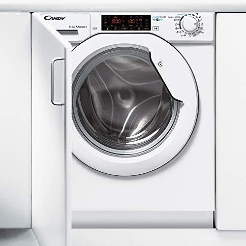 Candy CBWDS 8514TH-S - Máquina de lavado con secadora (carga frontal, integrada, blanco, izquierda, botones, giratorios, Toucher, acero inoxidable)