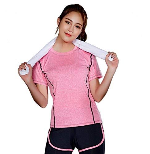 Set corto, 2 pezzi, per sport da tennis, da donna, abbigliamento sportivo, maglietta casual + pantaloni corti, palestra, yoga, Workout Rosa M