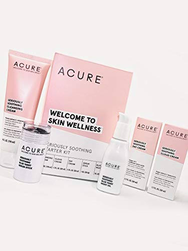 ACURE Seriously Soothing Starter Kit - 100% Vegan & For Dry to Sensitive Skin, Includes Cleansing Cream, Cloud Cream, & Day Cream, Serum Stick & Blue Tansy Night Oil, 5 Count