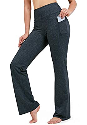 "28""/30""/32""/34"" Inseam Women's Bootcut Yoga Pants Long Bootleg High-Waisted Flare Pants with Pockets"