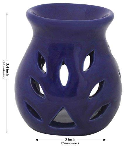 VENTE DE NOËL - 8,6 cm Fait à la Main Bleu Céramique à Essentiel Huile Diffuseur / Huile Brûleur / Votive Porte-Bougie / Lumière Photophore Lanterne - Aromathérapie Cadeaux de Yoga