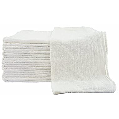 Shop Towels (Pack of 100, 13 X 13 Inches) Commercial Grade Machine Washable Cotton Washcloths Lint Free White Shop Rag - Perfect for Auto Mechanic Work and Bar Mop by Utopia Towel (White)