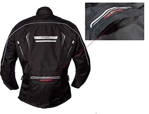 Schwarze Motorradjacke mit Protektoren, Belüftungssystem, Klimamembrane und herausnehmbarem Thermofutter - 11