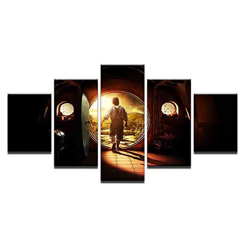 QJHXD 150X80Cm Impresiones En Lienzo 5 Partes Túnel del Tiempo Pintura Abstracta Estampado Cuarto De Baño Decoración para El Hogar Impresión De Imagen Sin Marco