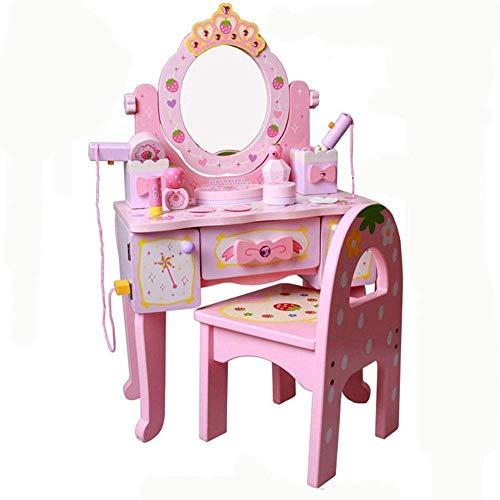 ouruanyang Juego de Mesa de tocador para nios Tocador de Madera para nia Jardn de Infantes Juego de Roles Casa Puzzle Princesa Pink Tocador para nios Juguete (Color: Pink, Size: 75x41x22cm)