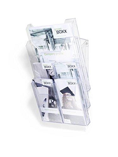 Durable 861319 Prospektspender-System Combiboxx Pro (für DIN A4 und 1/3 A4 Formate, für Tisch- und Wandanwendung)transparent