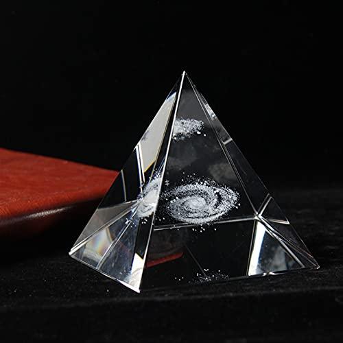 JUNLAI Shinning 3D Galaxy Crystal Pyramid Decoración Artesanía Ornamento Estatuillas Miniaturas Decoración del hogar Accesorios (Color : 8cm)