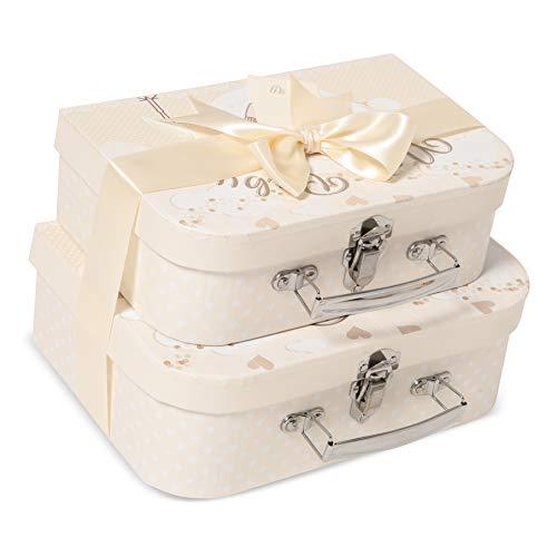 Scatole regalo Keepsake New Baby - 2 astucci color crema con nastro in raso e cartellino messaggio per neonato