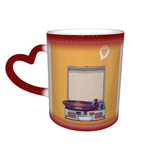 COVASA Taza sensible al calor que cambia de color,tocadiscos de vinilo,taza de café de cerámica para la oficina de cumpleaños del festival,el mejor regalo novedoso de 12 onzas