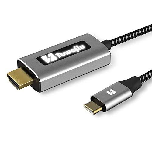 Tuwejia USB C auf HDMI Kabel (4K@60Hz) USB Typ-C zu HDMI Kabel mit LED-Unterlicht-Indikator [Thunderbolt 3 kompatibel] für MacBook Pro/Air 2019/2018 iPad Pro 2019/2018, Huawei P20/P30