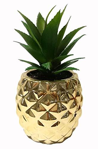 Künstliche Sukkulenten-Pflanze im Topf, 19,8cm hoch. Porzellantopf in Ananasform, Home & Garden Dekoration gold